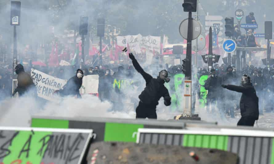 Protesters during May Day demonstrations in Paris.