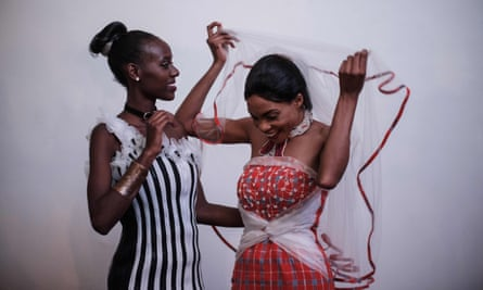 Models wearing garments from recycled or biodegradable materials during the UN's Fashion for Sustainable Future event in Kenya in May.