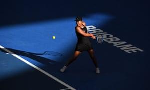 Naomi Osaka hits a return against Anastasija Sevastova, who she beat 3-6, 6-0, 6-4.