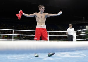 Michael Conlan gestures after losing his quarter-final.