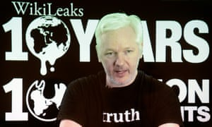 WikiLeaks founder Julian Assange in a video link to a press conference in Berlin on 4 October.