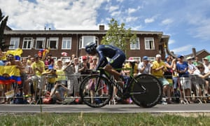 Supporters get behind Colombia's Nairo Quintana as he competes in Utrecht.