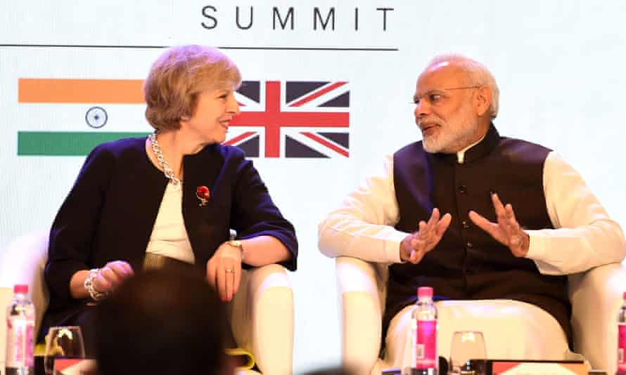 Theresa May with India's prime minister Narendra Modi at the India-UK Tech Summit in New Delhi last November.