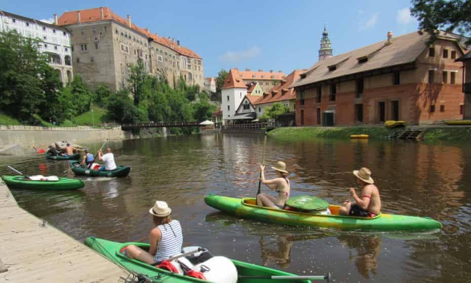 Canoeing in Cesky Krumlov, Czech Republic