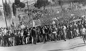 Protests in Soweto in August 1976.