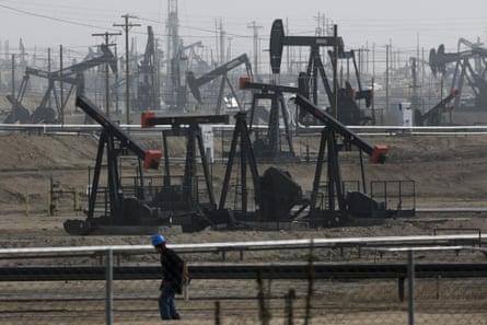 Pumpjacks operating at the Kern river oil field in Bakersfield, California