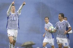 Sociedad defender Diego Llorente celebrates after scoring.