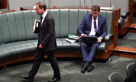Federal ministers Greg Hunt and  Alan Tudge in parliament