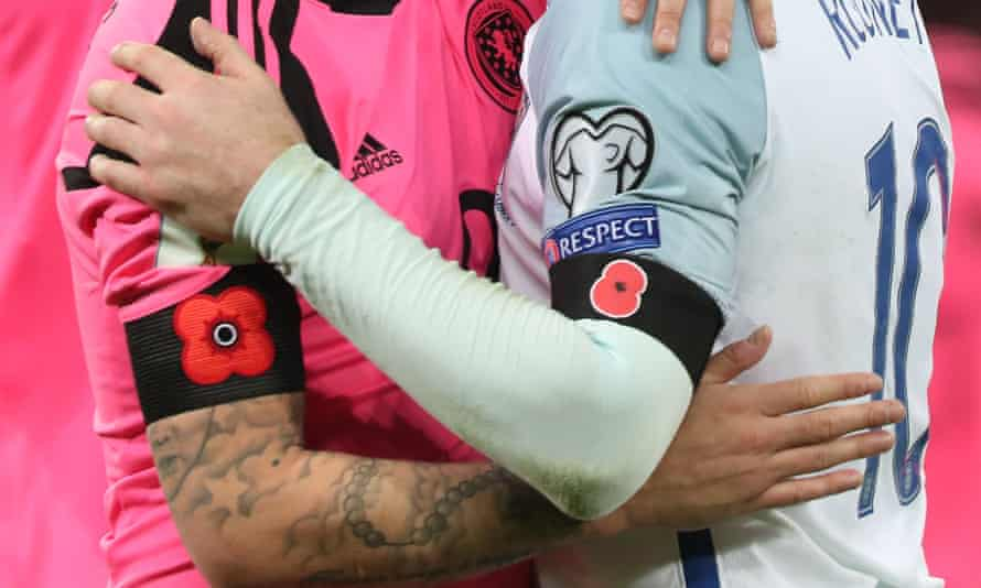 Poppies worn by England and Scotland players