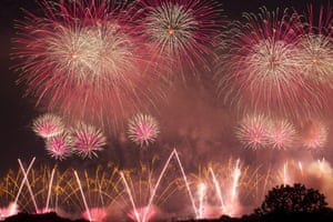 Fireworks explode over the National Mall