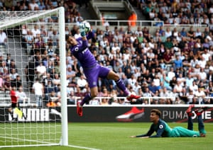Tottenham's Dele Alli watches as his header is saved by Newcastle's Martin Dubravka at St. James' Park. Alli scored to secure a 2-1 victory for Spurs.