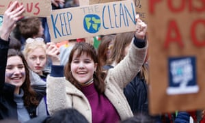 Thousands joined a climate change strike in Brussels on 16 March.