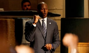 Andrew Gillum, Florida's Democratic candidate for governor, attends a service to advocate for a vote recount at New Mount Olive Baptist church on 11 November.
