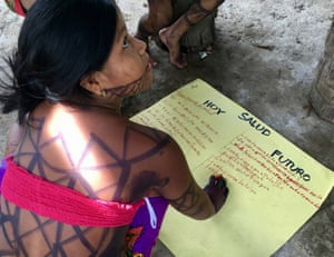 An Embera woman from the Bajo Lepe community in Panama featured in the UN Special Rapporteur's recent report. Bajo Lepe still does not have title to its land.