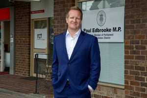 Paul Edbrooke at the front of his new office in Young St Frankston.