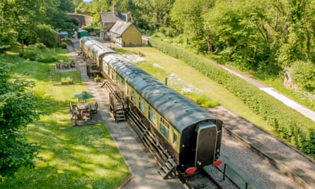 Coalport Station, Shropshire, where two railway carriages have been converted into holiday accommodation.