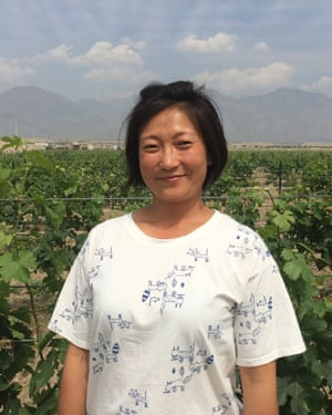 Emma Gao, founder of Silver Heights winery, at her vineyard on the eastern flank of the Helan mountain.