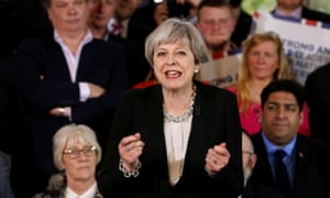 Theresa May opens her election campaign by addressing Conservative party members in Bolton.