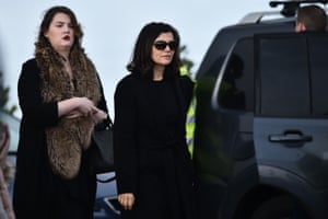 Ali Hewson, the wife of Bono from U2 arrives outside St Ailbe's parish church in Ballybricken ahead of Dolores O'Riordan's funeral.