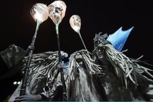 Performers in Londonderry, Northern Ireland, in what is Europe's largest Halloween parade with more than 30,000 people.
