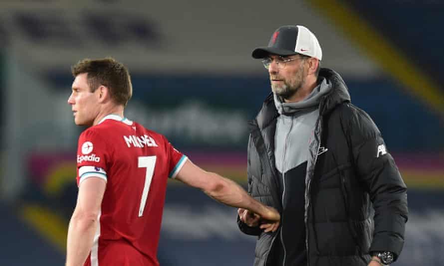Liverpool manager Jürgen Klopp and his captain at Elland Road, James Milner