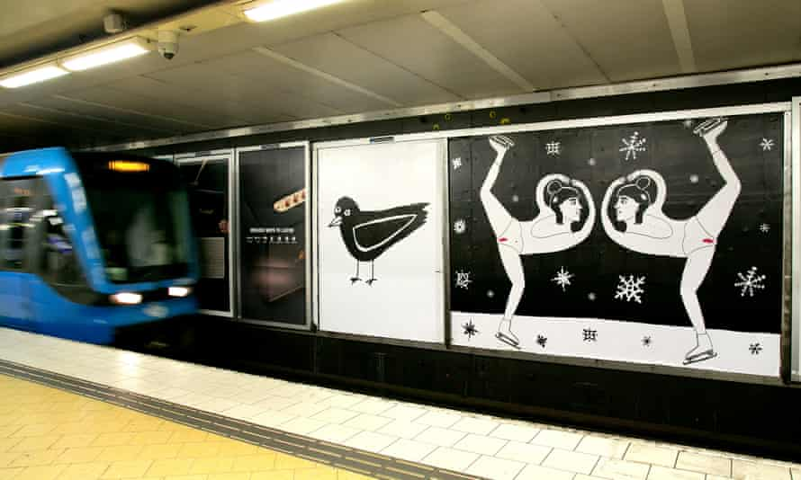 The Night Garden, a series by the cartoonist Liv Strömquist, on display at Slussen Metro station in Stockholm.