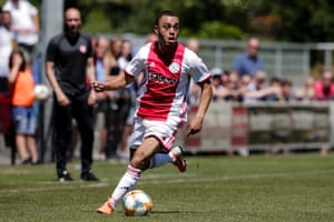 Sergiño Dest in action for Ajax during pre-season