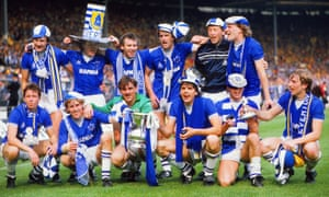 Southall and his Everton team-mates with the FA Cup after the 2-0 victory over Watford in the 1984 final.