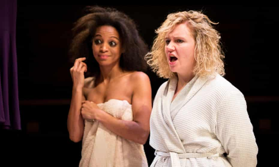 Bathroom talk … Samantha Pearl as Celia and Katherine Pearce as Jo in Low Level Panic by Clare McIntyre.