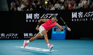 Rafael Nadal stretches in order to play a return shot during his victory over Nick Kyrgios