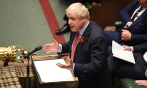Boris Johnson at the dispatch box in the Commons during Tuesday's debate on the early parliamentary general election bill.