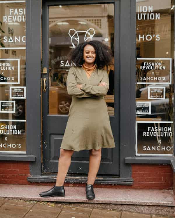 Kalkidan Legesse outside her ethical business, Sancho's.