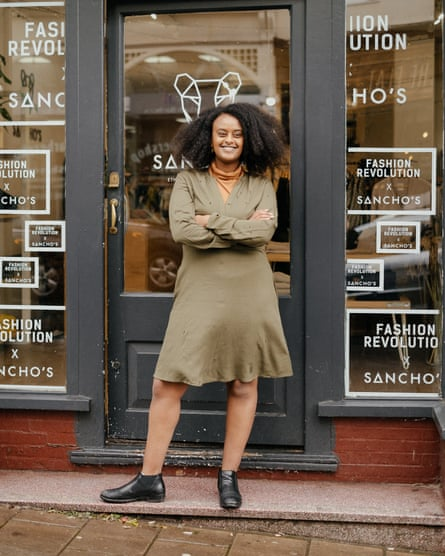 Kalkidan Legesse outside her ethical business, Sancho's.