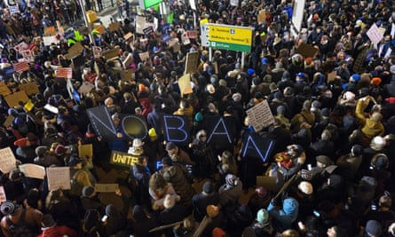People protest at JFK airport over Donald Trump's travel ban