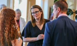 Kirsty Williams meeting staff and pupils at a school in the summer.