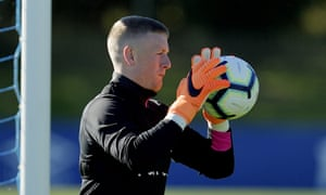 Jordan Pickford keeps busy during Thursday's training session at Everton's Finch Farm complex.