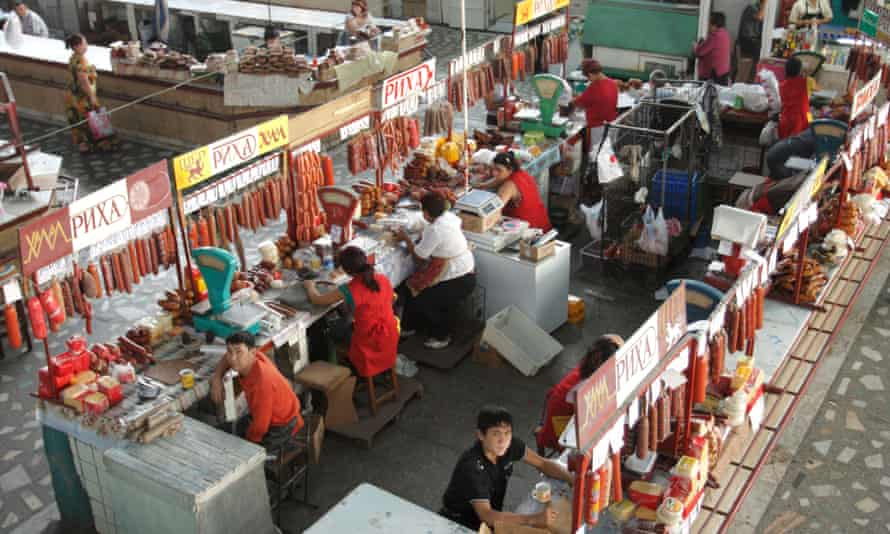A market hall where sausages are being sold in Bishkek, Kyrgyzstan.