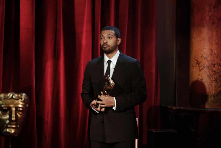 Noel Clarke accepting his Bafta for Outstanding British Contribution to Cinema on 10 April