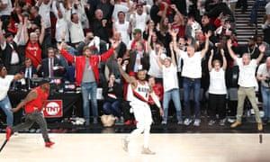 Portland's Damian Lillard waves goodbye to the Thunder