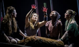 Fierce charisma … Kate Lamb (second from left) leads the pack in Lord of the Flies.