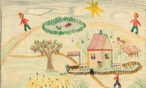 Childhood landscape sketch with figures by Lucian Freud, c. 1930s.