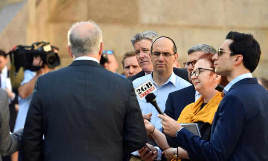 Journalists ask questions of Prime Minister Scott Morrison at a press conference
