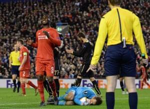 More frustration for Christian Benteke as Rubin Kazan's goalkeeper Sergei Ryzhikov grabs the ball.