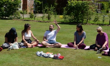 Beeja Meditation's Will Williams with a group at the West Sussex retreat.