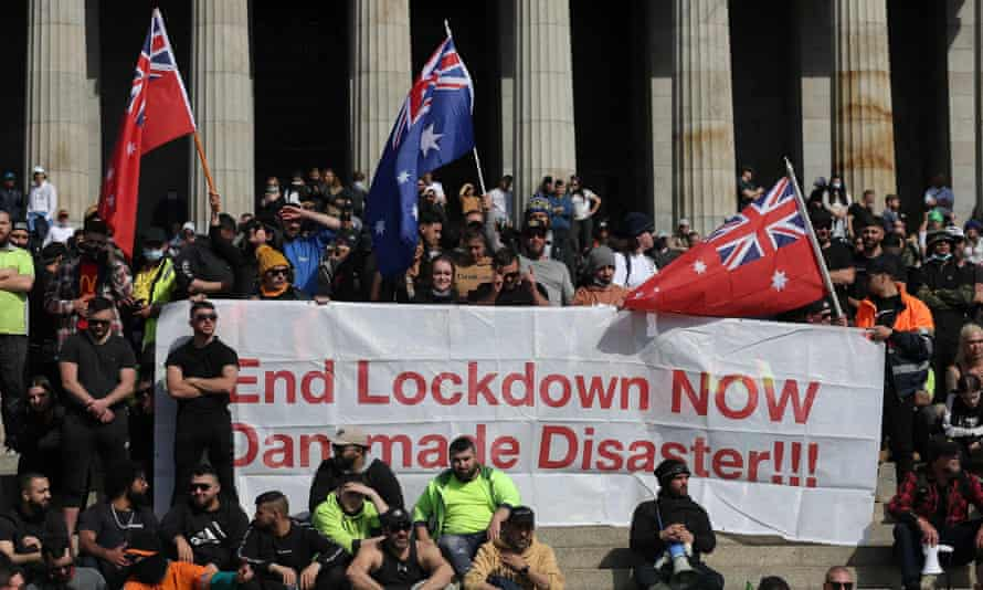 Anti-lockdown protests ended up at the Shrine of Remembrance, a memorial to Australian soldiers.