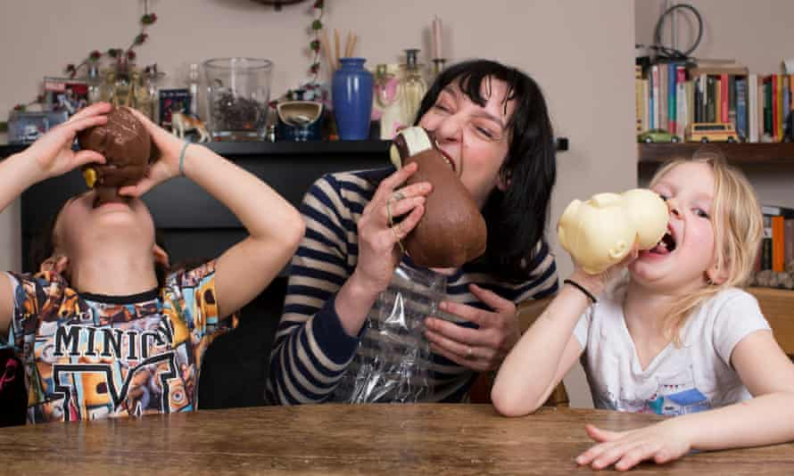Zoe Williams and children test Easter chocolate.