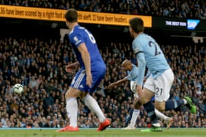 Against Leicester, Kompany scores a screamer into the top corner from 25 yards out to win the game 1-0 and take City to the brink of the title.