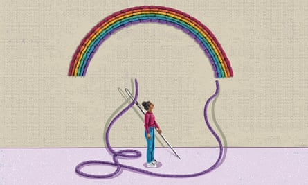 An illustration of a woman holding a giant needle and looking above her head at a rainbow sewn from thread, with a single purple thread hanging down