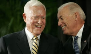 Ernest Fritz Hollings laughs with Joe Biden at an event in Columbia, South Carolina in 2010.