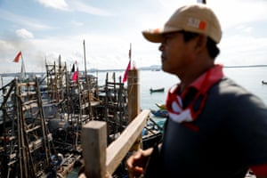 """""""On land, our income is diminishing. There are no more reserves,"""" said Hendra, 51, who shifted to work in offshore tin mining about a year ago after a decade in the industry"""